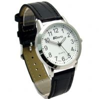 Ravel Mens Super-Clear Easy Read Quartz Watch Black Strap White Face R0130.02.1